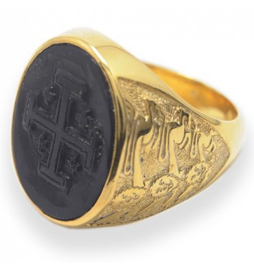 Black Onyx Jerusalem Cross Sculpted Gold plated Sterling Silver Ring