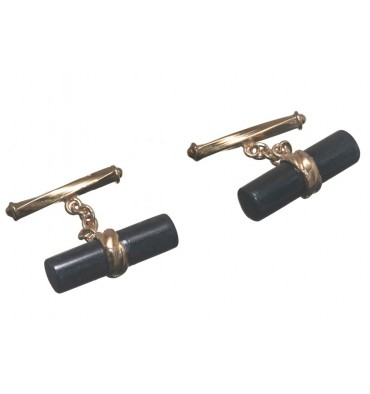 Black Jade Cylinder Chain & Shank Cuff Links- Gold Plated Silver