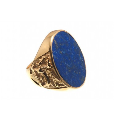 Lapis Welsh Dragon Gold Plated Sterling Silver Ring