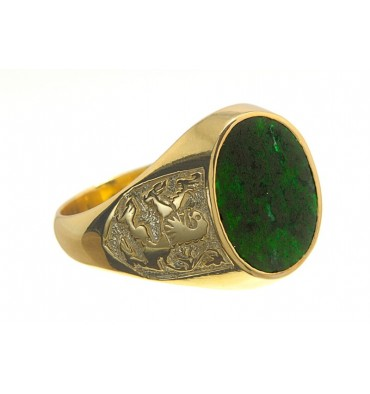 Jade Lion of Scotland Gold Plated Sterling Silver heraldic Ring