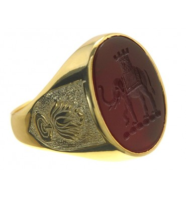 Red Agate Elephant Family Crest Gold Plated silver Ring