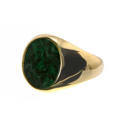 Jade Gold Plated Sterling Silver Ring