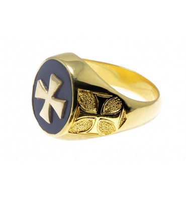 Lapis Lazuli Templar Cross Gold Plated Sterling Silver Ring