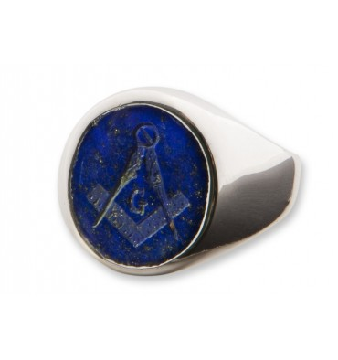 Lapis Set Square & Compass Masonic Sterling Silver Ring