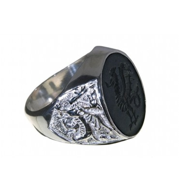 Black Onyx Cockatrice & Welsh Dragon Sterling Silver Ring.
