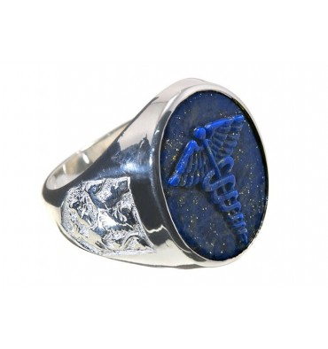 Lapis Lazuli Caduceus & Lion Of Scotland Doctor's Sterling Silver Ring