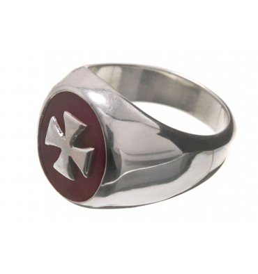 Red Agate Overlaid Templar Cross Sterling Silver Ring