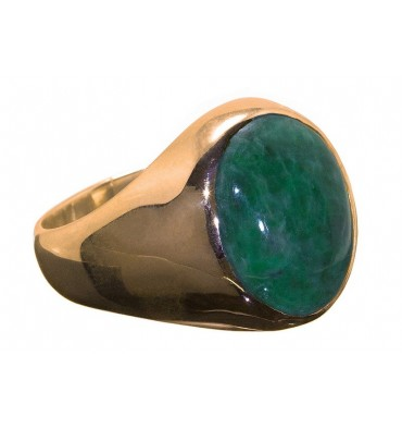 Jade Cabachon Gold Plated Sterling Silver Stone Ring