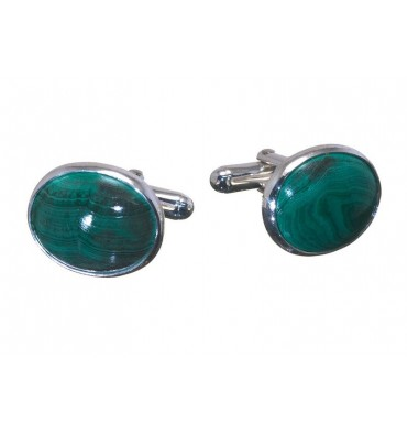 Malachite Traditional Oval Swivel Cufflinks-Sterling Silver