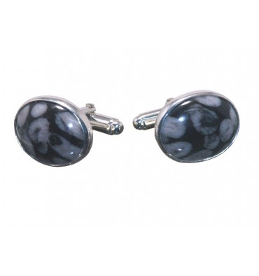 Sea Fossil Small Oval Swivel Cufflinks Sterling Silver