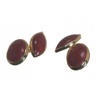 Red Jasper Double Oval Cufflinks - Gold Plated Silver