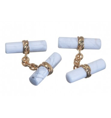 Howlite Cylindrical Imperial Double Gold Plated Sterling Silver Cufflinks