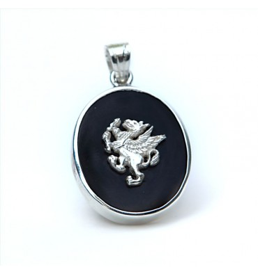 Black Onyx Griffin Sterling Silver Pendant
