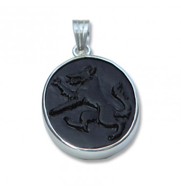 Black Onyx and Sterling Silver Wolf Pendant