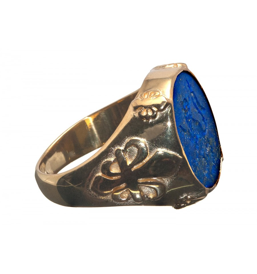 A Lion Regardent Lapis Seal Ring With Fleur De Lys Shoulders