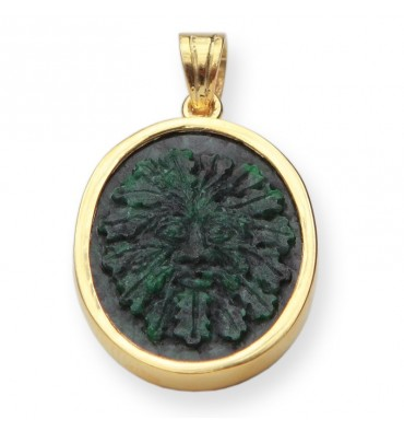 Jade Green Man Gold Plated Sterling Silver Pendant