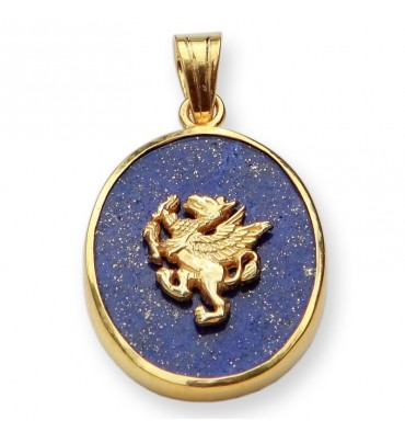 Lapis Griffin Gold Plated Sterling Silver Pendant
