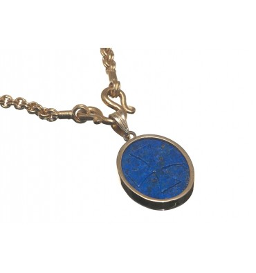 Lapis Templar Gold Plated Sterling Silver Pendant