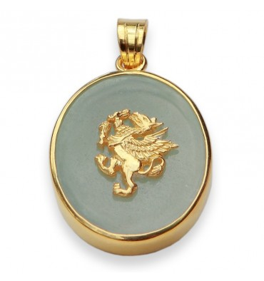 Aventurine Heraldic Griffin Pendant-Gold Plated Sterling Silver