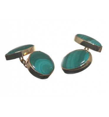 Malachite Oval and Lozenge Cuff links - Gold Plated Silver