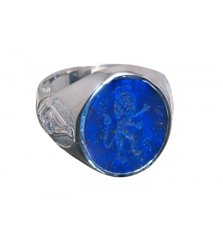 Lapis Lazuli Royal Lion And Masonic Sterling Silver Seal Ring Regnas Jewelry