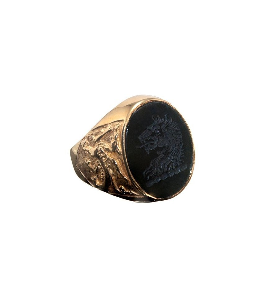 Black Onyx Lion Amp Welsh Dragon Gold Plated Sterling Silver