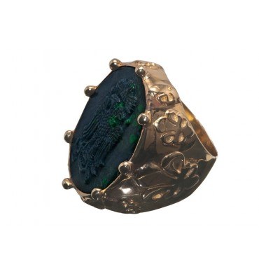 Jade Albite Large Gold Plated Sterling Silver Fleur De Lys Masonic Ring