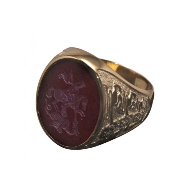 Red Agate St George Gold Plated Sterling Silver Three Lions Heraldic Ring