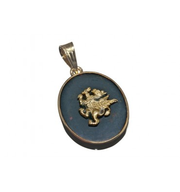 Bloodstone Griffin Gold Plated Silver Pendant