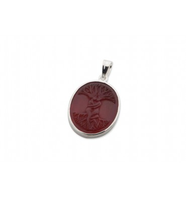 Red Agate Open Back Tree of Life Silver Pendant