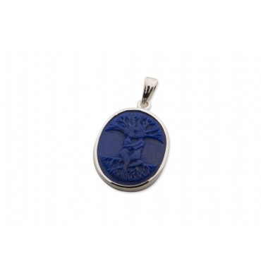 Lapis Tree of Life Sterling Silver Pendant
