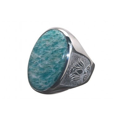 Amazonite Unique Ring-Lotus Shoulders-Sterling Silver
