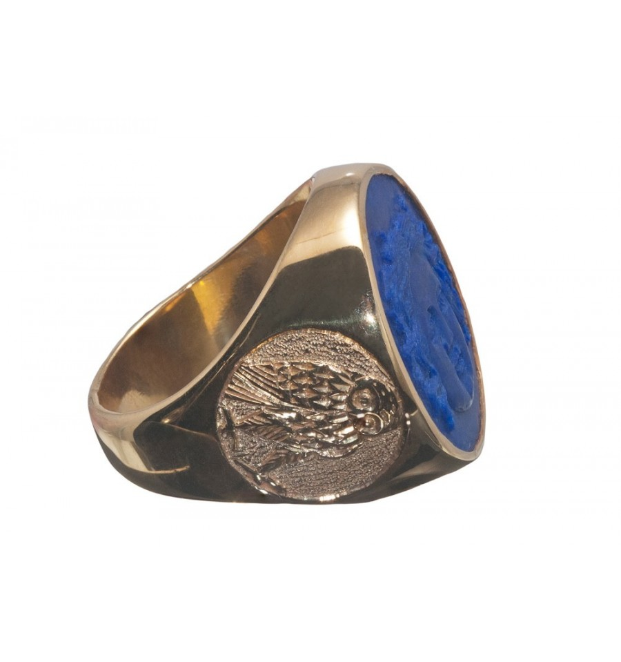 Lapis Greek Sun God Amp Owl Gold Plated Silver Round Ring