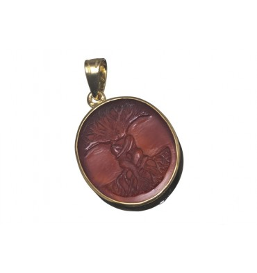 Red Agate Open Back Tree of Life Pendant - Gold Plated silver