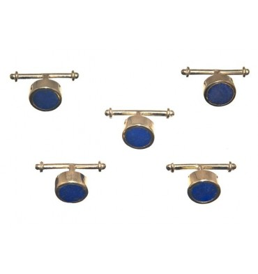 Lapis Lazuli Set of 5 Shirt Studs - Gold Plated Sterling Silver