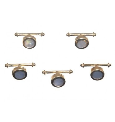 Mother of Pearl Set of 5 Shirt Studs - Gold Plated Silver