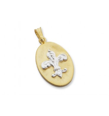 Gold Plated Silver Pendant With Sterling Silver Fleur De Lys