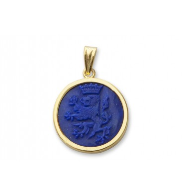Lapis Lion with Crown Gold Plated Silver Pendant