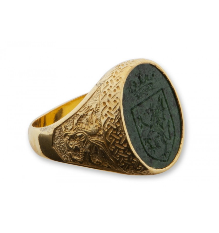 Jade Royal Celtic Design Gold Plated Sterling Silver