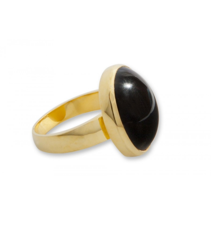 Black Onyx Cabachon Gold Plated Silver Ring Regnas Jewelry