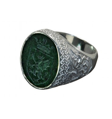 Jade Albite Celtic Shield and Welsh Dragon Sterling Silver Gaelic Ring