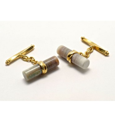 Wood Fossil Silver Cuff Links Gold Plated Silver
