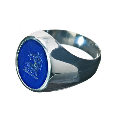 Lapis Heraldic Lion Engraved Family Crest Sterling Silver Seal Ring