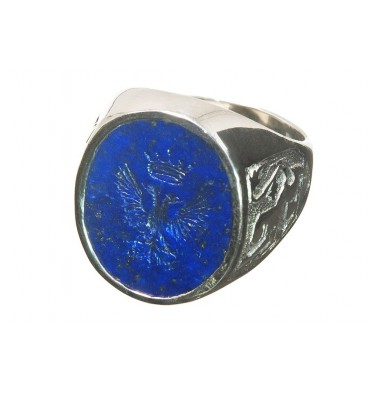 Lapis Eagle & Crown with Scottish Lions Sterling Silver Heraldic Ring