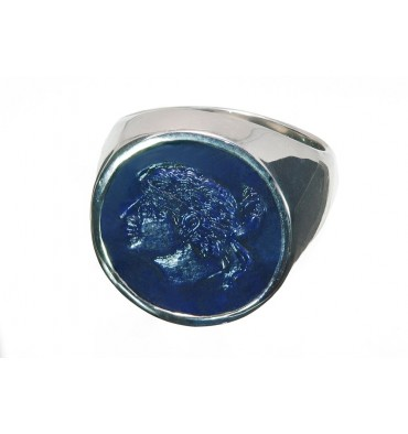 Lapis Moore's Head Of Corsica Sterling Silver Sculpted Round Ring