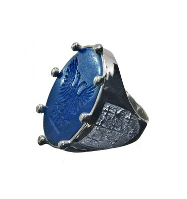 Lapis Eagle with Blason Des Essartes Sterling Silver Man's Family Crest Ring