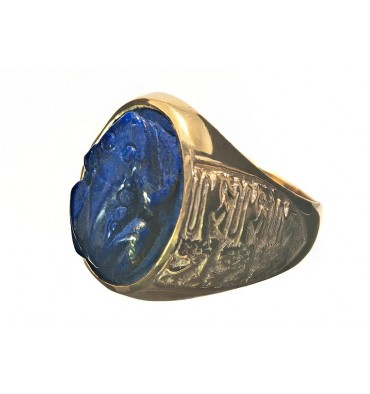 Lapis Carved Frog & Three Lions Gold Plated Sterling Silver Stone Ring