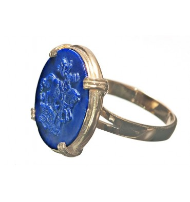 Lapis St George Gold Plated Sterling Silver Roman Style Round Stone Ring