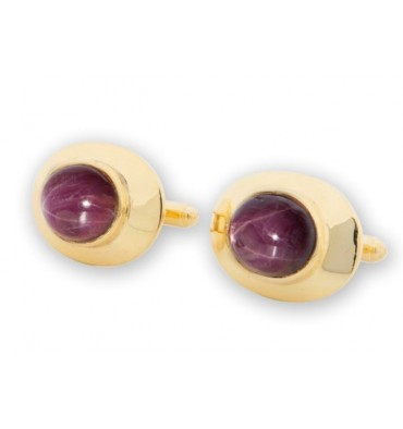 Framed Oval Purplish Red Star Ruby Gold Plated Sterling Silver Cufflinks