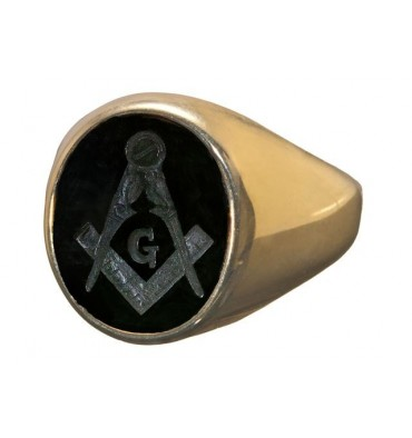 Black Onyx Masonic engraved gold plated sterling silver ring